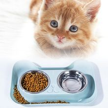 Dogs Cats Puppy Stainless Steel Double Bowls Pet Food Water Feeder Y1AB