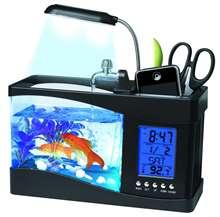 USB خزان حوض أسماك صغيرة حوض السمك مع LED لمبة مكتب ضوء شاشة الكريستال السائل ساعة شاشة حوض للأسماك حوض السمك النظام البيئي