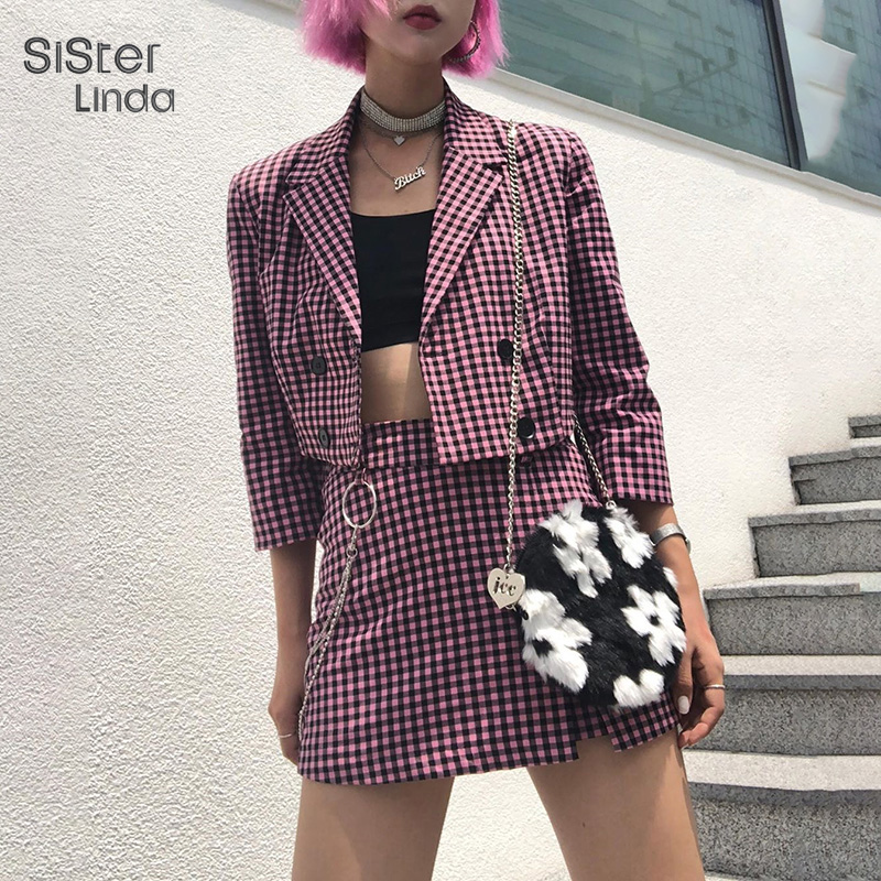Sisterlinda Women Coat Plaid Full Sleeve V-neck Jacket Double Breasted High Waist Skirts Lady Office New Spring Outfit