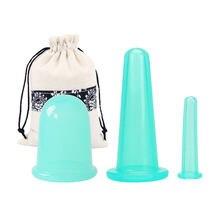 3 pçs jar silicone vácuo cupping latas para massagem ventuse anti celulite ventosa ventosa rosto alívio da dor corporal massagem masajador
