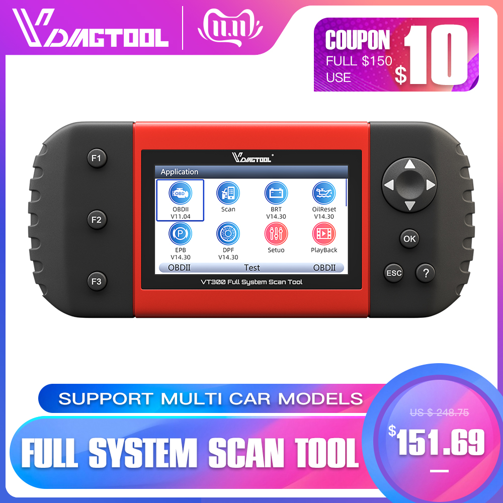 VDIAGTOOL VT300 Auto Diagnostic Scanner EPB DPF DRP BRT OBDII OBD2 Full Systems Support Multi Car Models Automotive Tools-in Car Diagnostic Cables & Connectors from Automobiles & Motorcycles