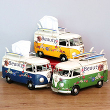Home Supplies Nostalgic Retro Wrought Iron Bus Tissue Boxes Coffee Shop Display Accessories TV Cabinet Decoration