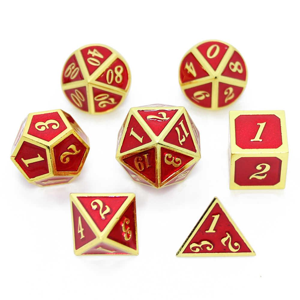 7 pièces/ensemble jeu de dés en métal D & D dés avec pochette en velours D20 D12 D10 D % D8 D6 D4 pour donjons et Dragons mdn RPG MTG jeux de Table