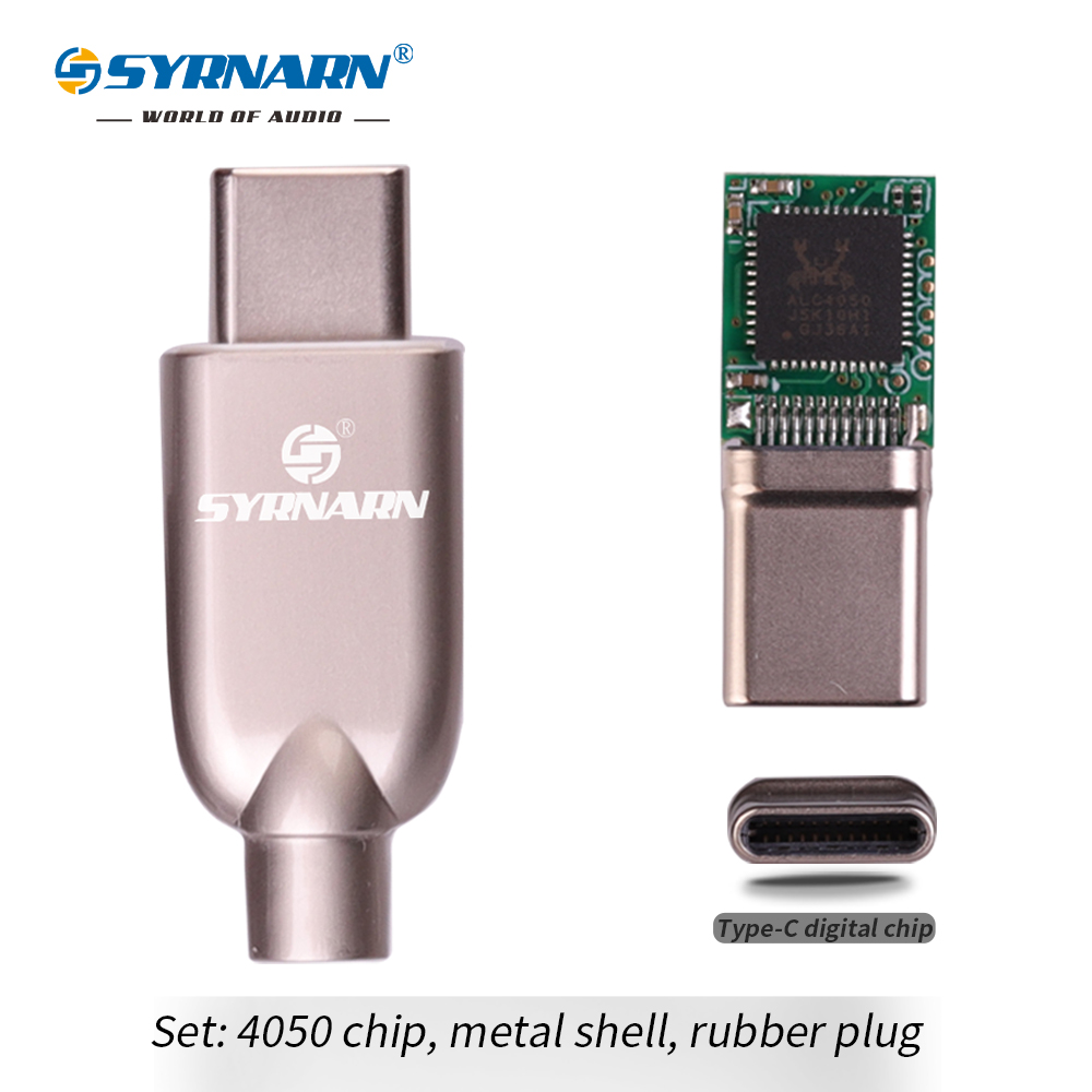 SYRNARN ALC4050 Chip 312bit 384kh TYPE C Digital Audio Headphone Plug With Anodized Aluminum Housing Type-C Chip Converter