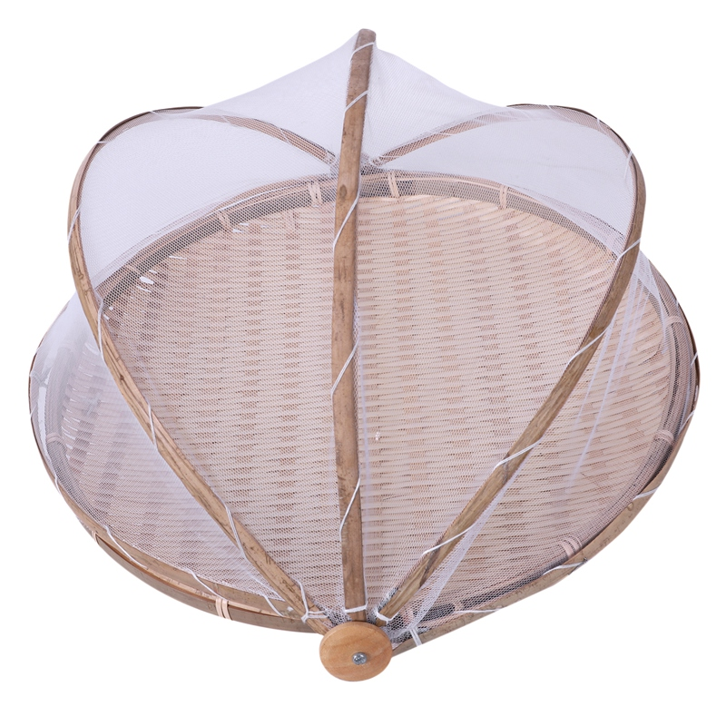Handmade Bamboo Woven Bug Proof Wicker Basket Dustproof Picnic Fruit Tray Food Bread Dishes Cover With Gauze Panier Osier