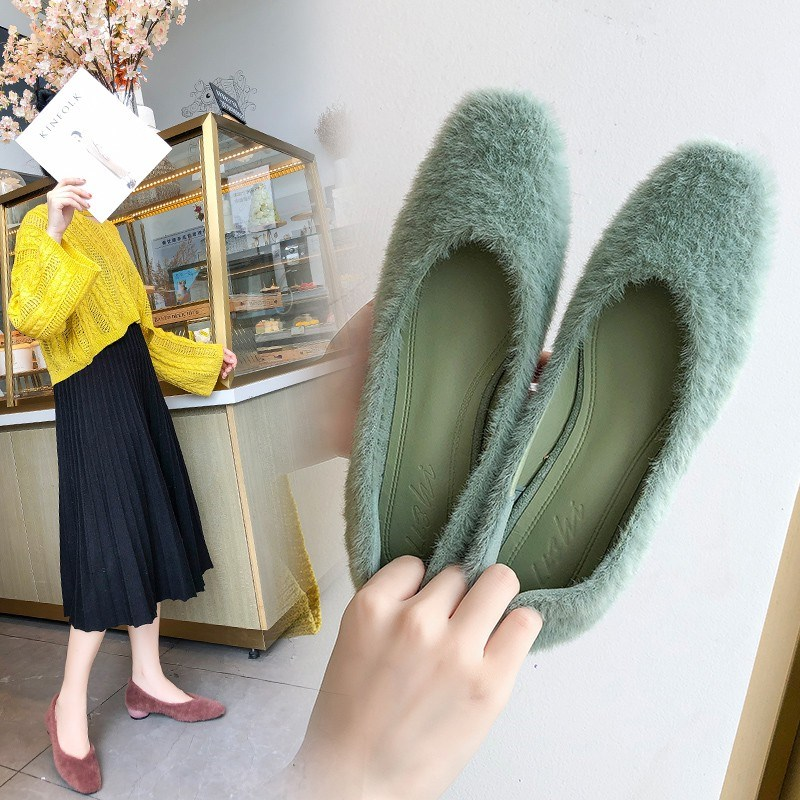 EOEODOIT Low Heels Pumps Shoes Autumn Women Retro Marry Jeans Square Toe Slip On Shallow V Mouth Pumps Cozy All Match