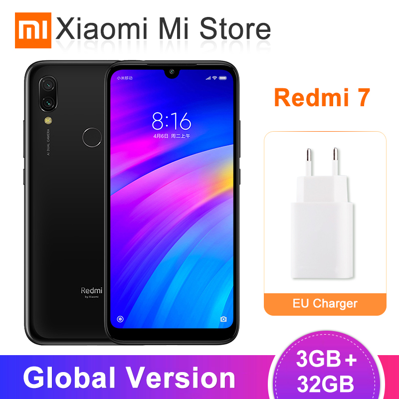 "Global Version Xiaomi Redmi 7 3GB 32GB 4000mAh Mobile Phone Snapdragon 632 Octa Core 12MP AI Dual Cameras 6.26"" HD Screen CE FCC"