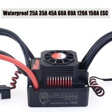 Waterproof 25A 35A 45A 60A 80A 120A 150A ESC Brushless Senseless Speed Controller for 1/8 1/10 1/12 1/20 RC Car skyrc toro ts160 150a esc competition electronic speed controller for 1 10 1 10 scale rc car 1 8 1 8 scale rawler parts