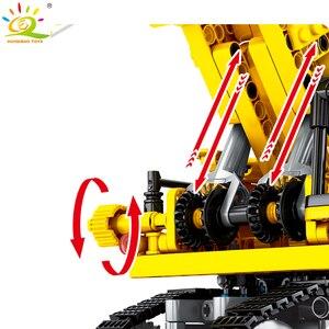 Image 5 - Huiqibao 841 peças escavadora de esteiras blocos de construção técnica cidade engenharia construção tijolos brinquedos para crianças menino presente