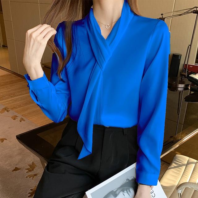 Chikichi 2021 Korean White Chiffon Shirt Women Spring and Autumn Tops Office Ladies Satin Blouse Women Long Sleeve 4