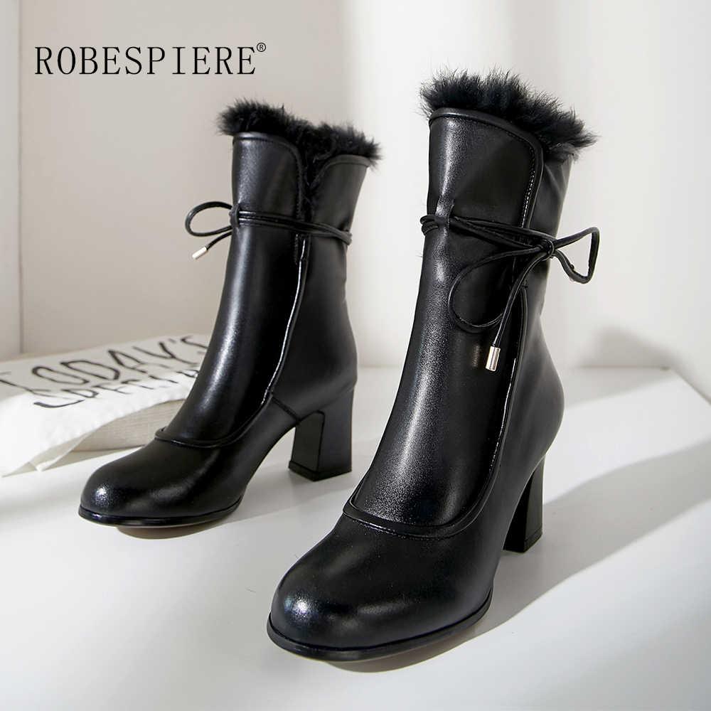 ROBESPIERE Frauen Mid-kalb Stiefel Aus Echtem Leder Lace Up Schuhe Mädchen Starke Ferse Qualität Kaninchen Haar Warme Plüsch Winter stiefel B113