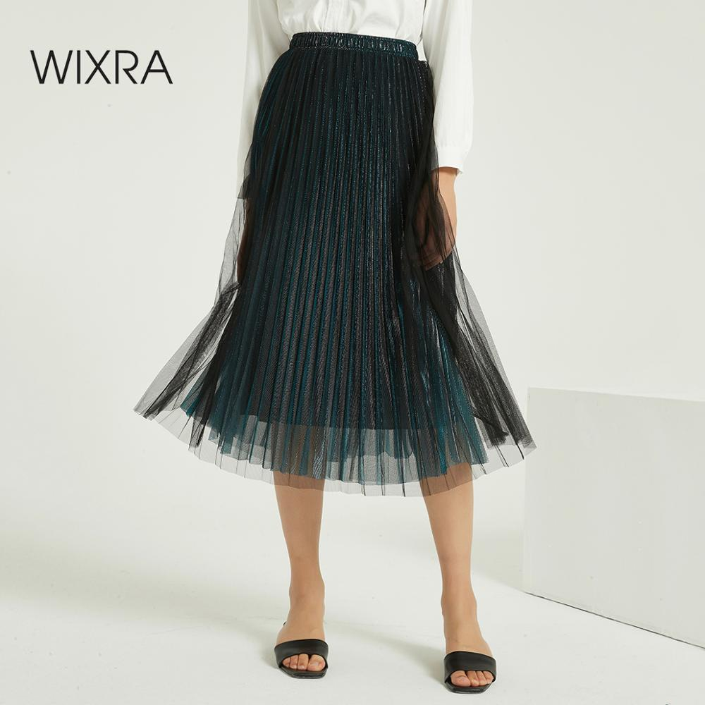 Wixra Women Shiny Mesh Skirts Autumn Winter Spring Stylish High Elastic Waist Mid-calf Skirt Streetwear Casual Skirt