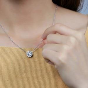 Image 5 - DovEggs 14K 585 White Gold Center 2ct 8mm F  Color Moissanite Pendant Necklace for Women Gold Necklace