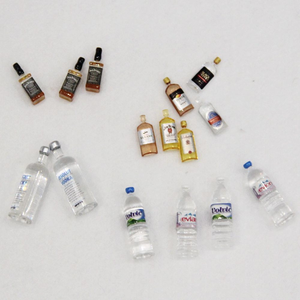 1:12 Dollhouse Miniature Accessories Mini Plastic Mineral Water Wine Bottle Simulation Furniture Model Toys For Doll House
