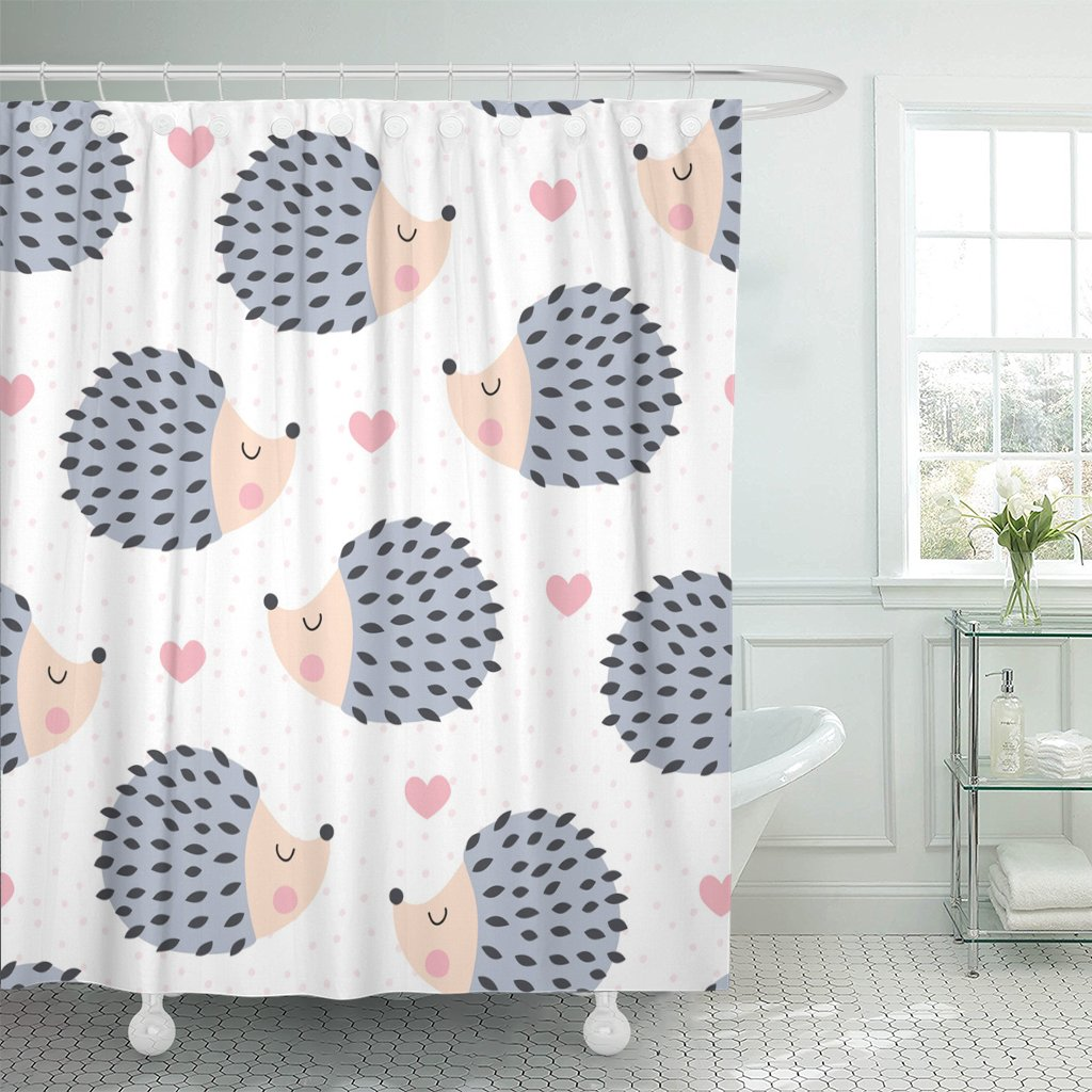 colorful adorable cute hedgehog animal pattern autumn baby waterproof polyester fabric shower curtain 72 x 72 inches set