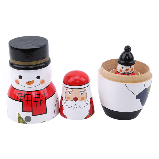 Good Hand-painted Russia Dolls 5 layers of Christmas Snowman Size 16 cm Height for Girls Wooden Decoration Best Birthday Gift