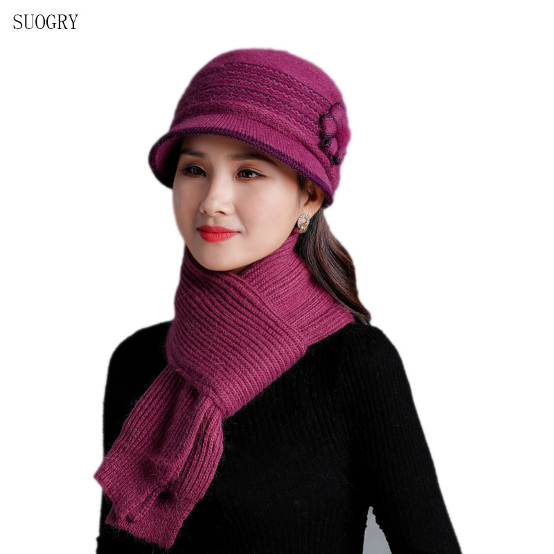 SUOGRY Female Wool Mixed Rabbit Fur Warm Knitted Beanies Baggy Headwear Cap 2019 New Fashion Women Winter Hat Sets Mother's Gift
