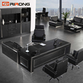 Luxury Big Boss Modern Black Color Vip Room Office Executive Table Manager Desk With Cabinet
