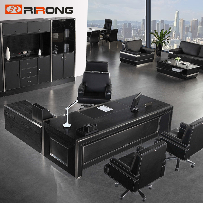 Luxury Modern Big Design 2.4 Meter Boss Director Furniture Black Wood Vip Room Office Executive Table Manager Desk With Cabinet