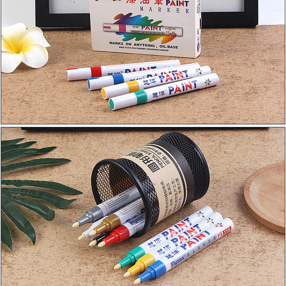 12 Colors Universal Waxing Sponge Paint Pen Marker Waterproof Metallic Colours Car Tyre Tire Metal Permanent Pens