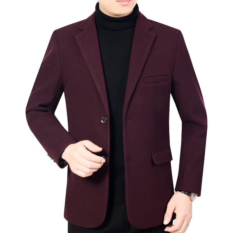 Autumn Winter Boys Wine Red Wool Coat Mens Casual Woolen Blend Coat Oversized Jackets Coats Overcoat Men Xxxl Long Sleeve Top