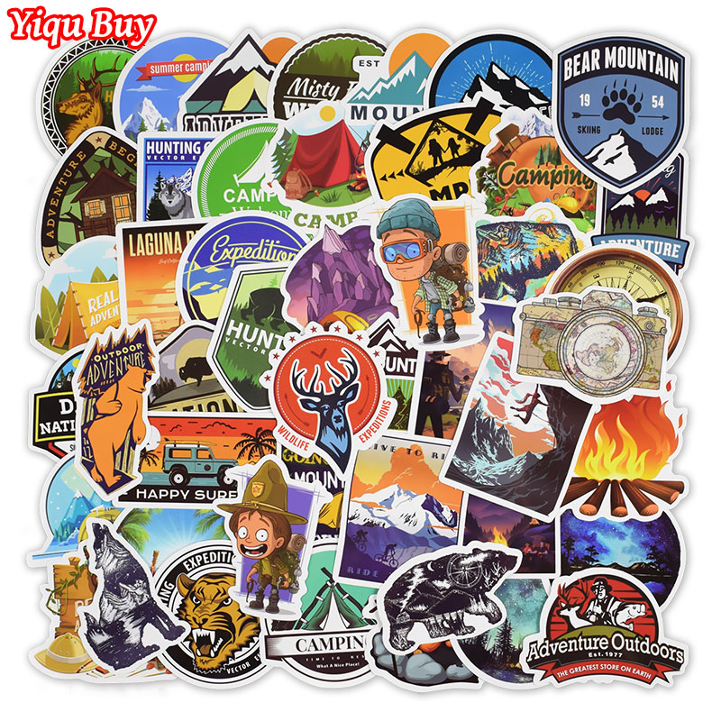50 Pcs Outdoor Adventure Stickers For Laptop Car Motorcycle Skateboard Fridge Suitcase Bike Bumper Decal Waterproof PVC Stickers