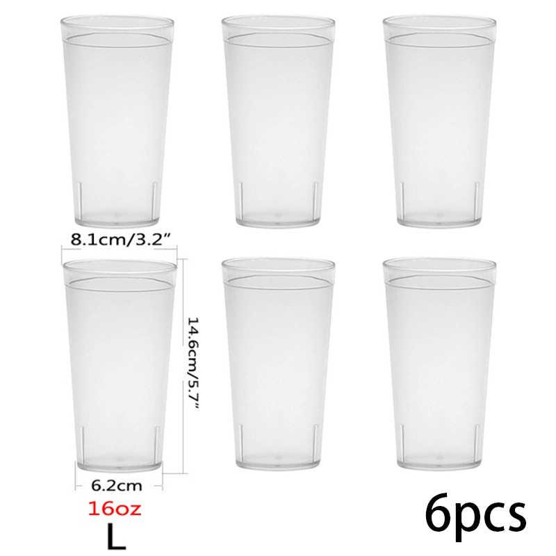 Verres à boire transparents de 16OZ, verres de café, de Restaurant, verres en plastique résistants aux ruptures, accessoire de Bar, outil de cuisine, 4/6/10 pièces