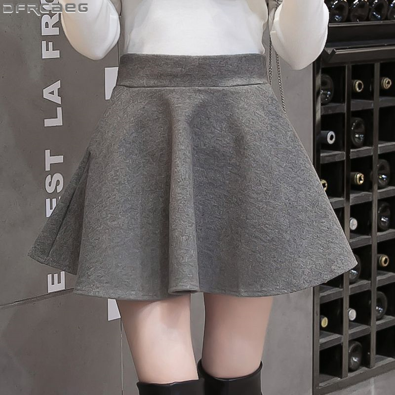 Fashion Streetwear Wool Skater Skirt Women 2019 Vintage High Waist Micro Mini Skirts Winter Pleated School Skirt Gray Black Saia