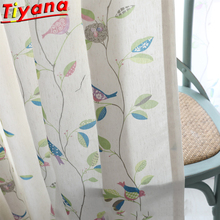 Bird Curtains for Living Room Cotton linen Leaves Printed Tulle Kids Child Beige Curtain Fabric WH075#20