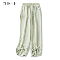 Loose Elastic Waist Leg Opening with Bow Tie Long Women Pants Casual Bloomers Woman Trousers Summer Pre Fall 2019