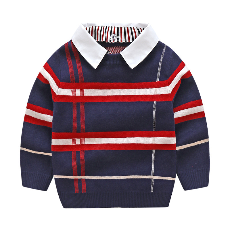 2020 Autumn Winter Boys Knitted Striped Sweater Toddler Kids Long Sleeve Pullover Children's Fashion Sweaters Clothes for Boys 2