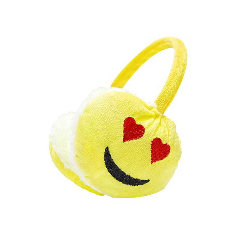 CUHAKCI Earmuffs Winter Plush Emoji Headband Earmuffs Yellow Fashion Emoticon Ear Warmer Female Hot Adjustable Earlap For Girls