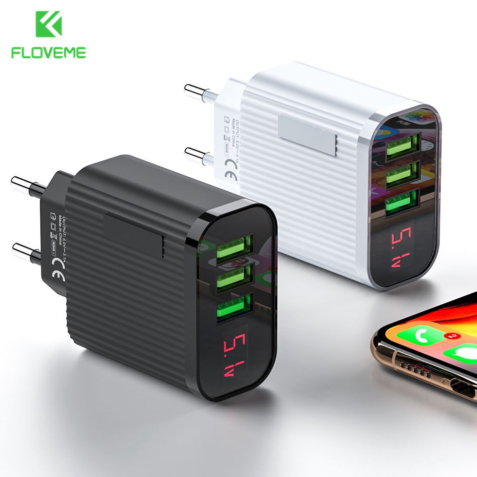 FLOVEME 3 Port USB Phone Charger LED Display EU <font><b>Plug</b></font> 5V 3A Fast Charging <font><b>Travel</b></font> Wall Charger <font><b>Adapter</b></font> For iPhone <font><b>Samsung</b></font> Xiaomi image