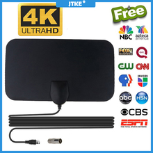 JTKE هوائي تلفزيون داخلي مسطح 4K ، هوائي تلفزيون رقمي HDTV ، معزز نطاق 50 ميلاً ، هوائي تلفزيون freview ، Satelite