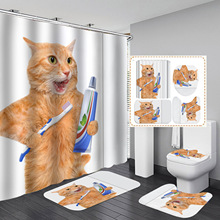 Hot Selling Digital Printing Waterproof Dacron Cat Shower Curtain Graphic Customization shower curtains bathroom curtain halloween cat print waterproof shower curtain