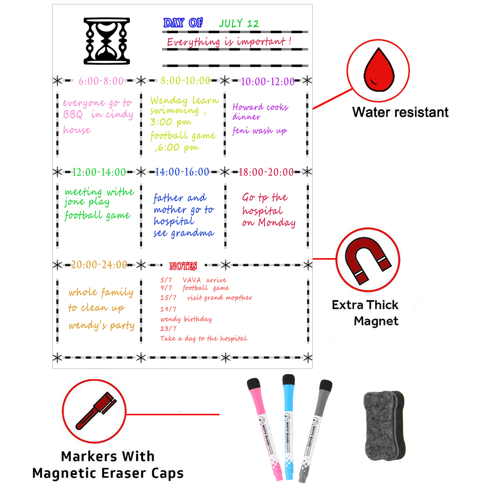 Dry Erase Whiteboard Sheet Magnetic Refrigerator Dry Erase Whiteboard Flexible Magnet Board - Fridge Board Weekly Planner