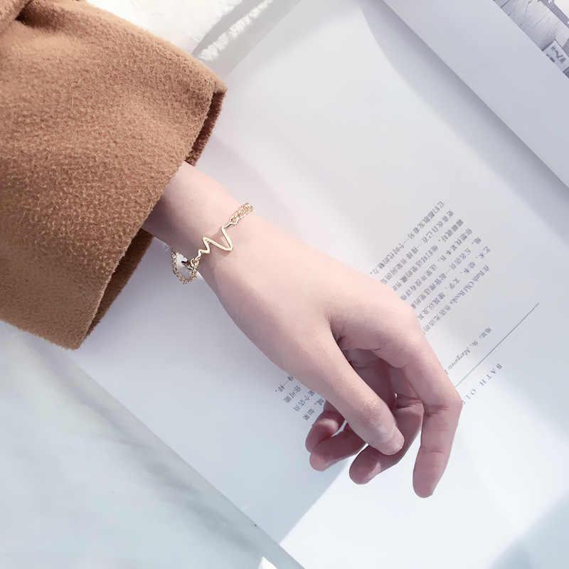 Simples ajustável eletrocardiograma charme pulseiras na moda cor do ouro pulseiras pulseiras para presente de jóias de moda feminina