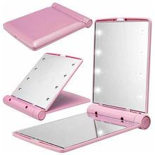 Miroir de maquillage pliable pour femmes, Portable, pour l'extérieur, cosmétique, en plastique ABS, avec 8 2020 lampes, nouveauté de LED