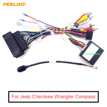 FEELDO Audio Mobil 16PIN Android Kabel Power Adaptor dengan Canbus Box USB Kawat untuk Jeep Cherokee Wrangler Kompas Wiring Harness(China)