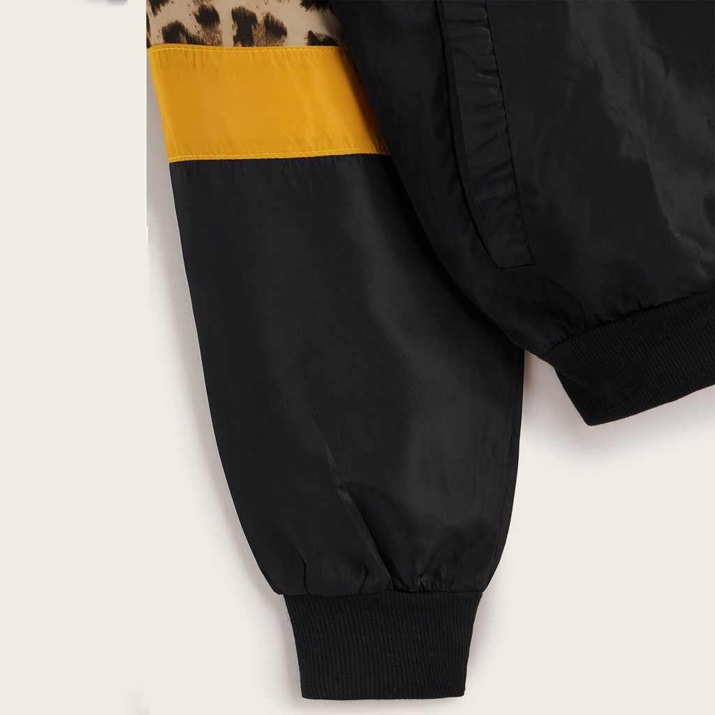 JAYCOSIN chaquetas mujer 2019 chaqueta de manga larga de leopardo chaqueta fina trajes de piel con capucha cremallera costura abrigo caliente 910