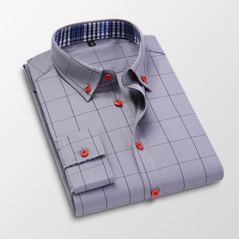 Handsome Fashion Men Shirts Casual Long Sleeved Plaid Shirt Regular Fit Male Blouse 4XL 5XL 8
