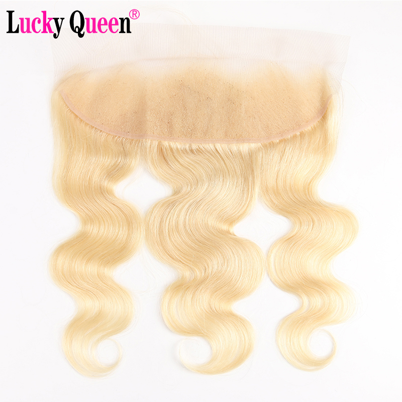 Lucky Queen Brazilian Body Wave Ear-To-Ear Lace Frontal 613 Blonde Color 13x4 Lace Closure With Baby Hair 100% Remy Human Hair image
