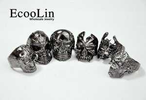 Image 2 - 30Pcs Fashion Mens Ring Skull Skeleton Gothic Biker Rings Men Ring Party Favor Wholesale Jewelry Lots Top Quality LR4107