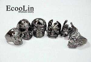 Image 2 - Anel masculino gótico, 30 peças de anel de crânio e esqueleto, anéis para homens, lembrancinha de festa, joias por atacado, qualidade superior lr4107