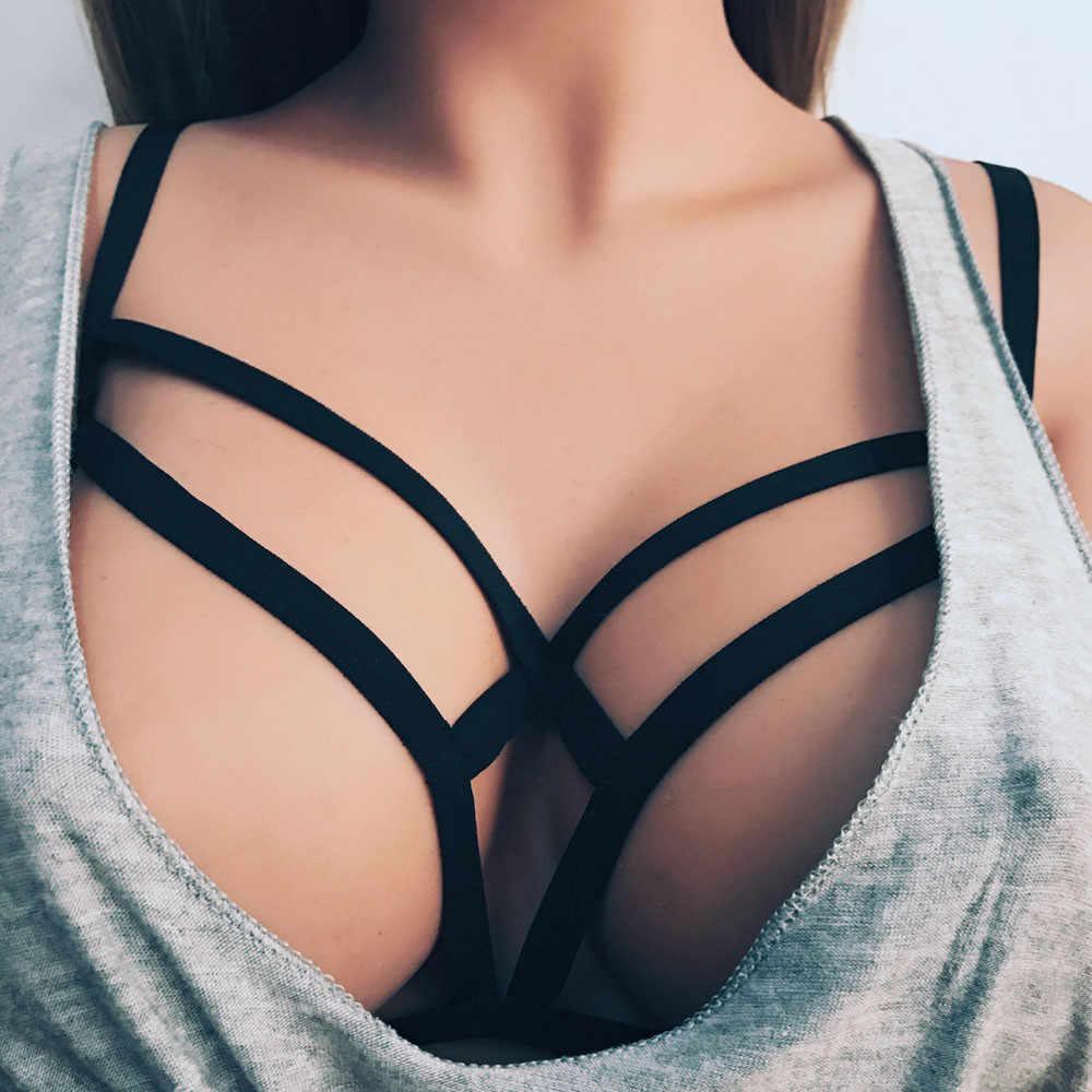 Chaud séduisant femmes harnais soutien-gorge élastique Cage soutien-gorge à bretelles évider soutien-gorge Bustier Sexy cadeau pour dame Ropa intérieur de encaje Wd3