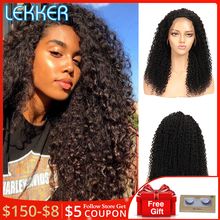 цена на Lekker Afro Kinky Curly Wig Remy Hair Lace Front Human Hair Wigs Short Bob 13X4 Lace Wigs Long Bob Curly Human Hair Extenstions