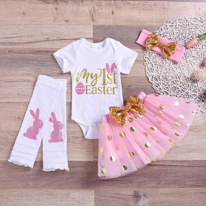 Cute Easter Outfit Baby Girl Clothes Set Romper Tutu Dress Girls Birthday Clothing Easter Newborn Girl Outfits 1 Year Birthday(China)