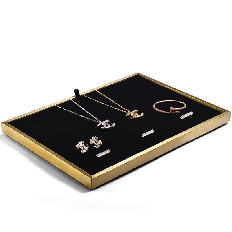 Oirlv bijoux affichage anneau en métal collier présentoir avec vitrine en cuir bijoux plateau support