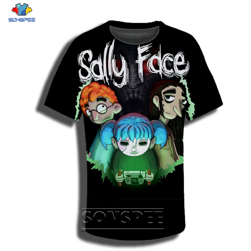 Anime 3d print t shirt streetwear sally hip hop rock face Men Women game fashion t-shirt Harajuku kids shirts homme tshirt A115 image