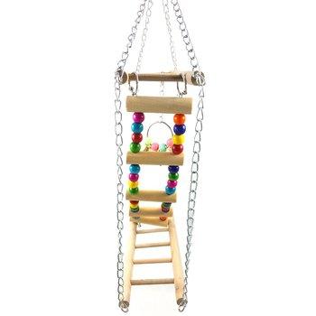 Bird Colorful Wood Swing Climbing Ladder Flexible Rainbow Bridge for Parrot Parakeet Hamster Budgie Cockatiel Cage 5